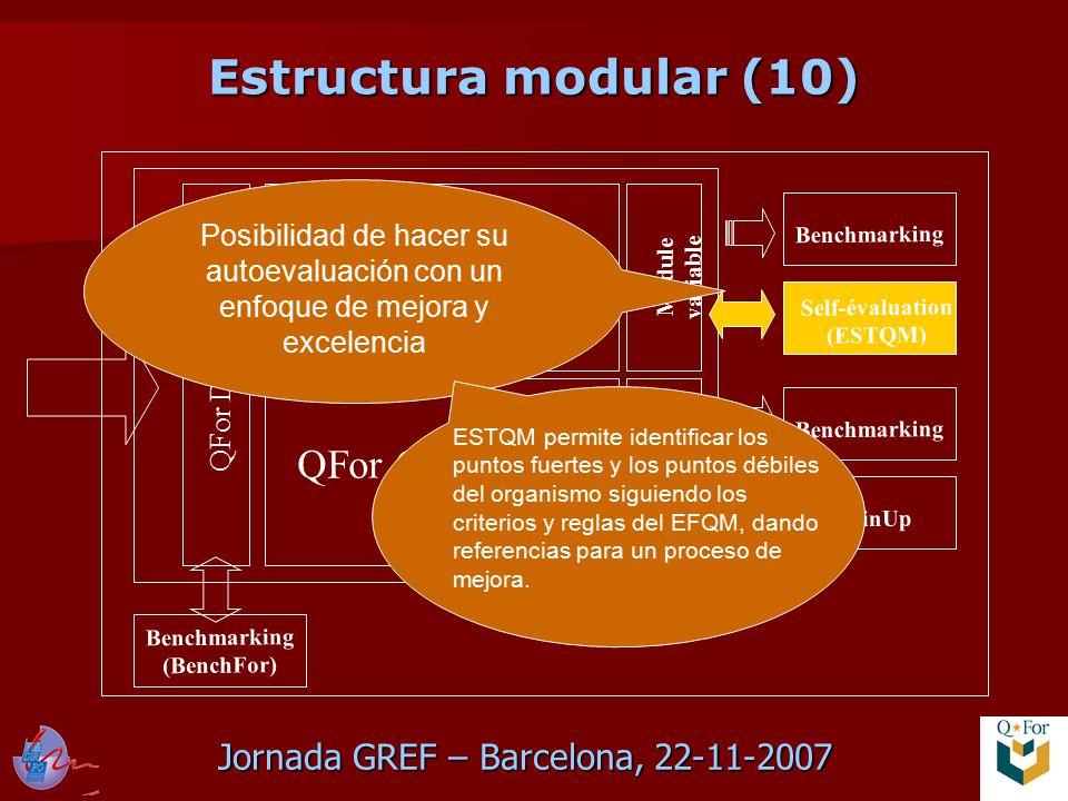 Jornada GREF – Barcelona, 22-11-2007 QFor Data Scan QFor Process Scan QFor Client Scan Module variable Benchmarking TrainUp Benchmarking Self-évaluation (ESTQM) Benchmarking (BenchFor) Posibilidad de hacer su autoevaluación con un enfoque de mejora y excelencia ESTQM permite identificar los puntos fuertes y los puntos débiles del organismo siguiendo los criterios y reglas del EFQM, dando referencias para un proceso de mejora.