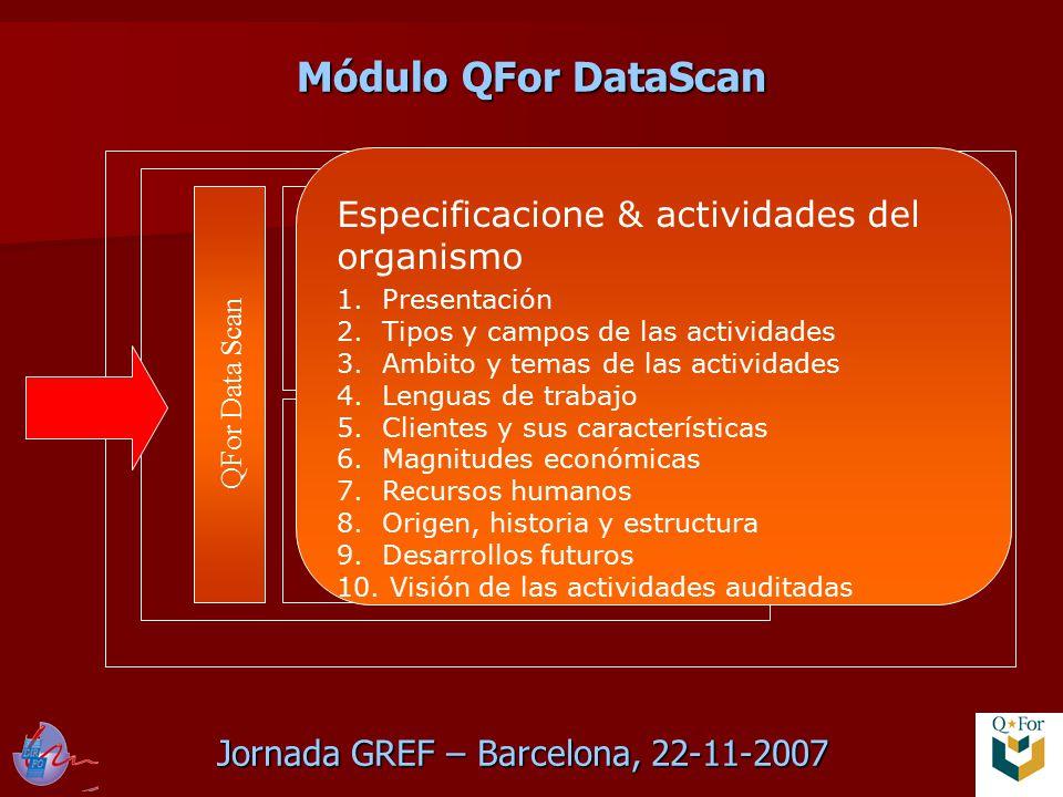 Jornada GREF – Barcelona, 22-11-2007 QFor Data Scan QFor Process Scan QFor Client Scan Module variable Especificacione & actividades del organismo 1.