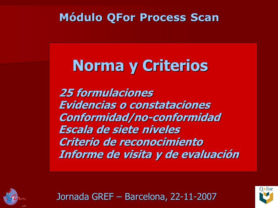 Jornada GREF – Barcelona, 22-11-2007 Módulo QFor Process Scan Norma y Criterios 25 formulaciones Evidencias o constataciones Conformidad/no-conformidad Escala de siete niveles Criterio de reconocimiento Informe de visita y de evaluación Norma y Criterios 25 formulaciones Evidencias o constataciones Conformidad/no-conformidad Escala de siete niveles Criterio de reconocimiento Informe de visita y de evaluación