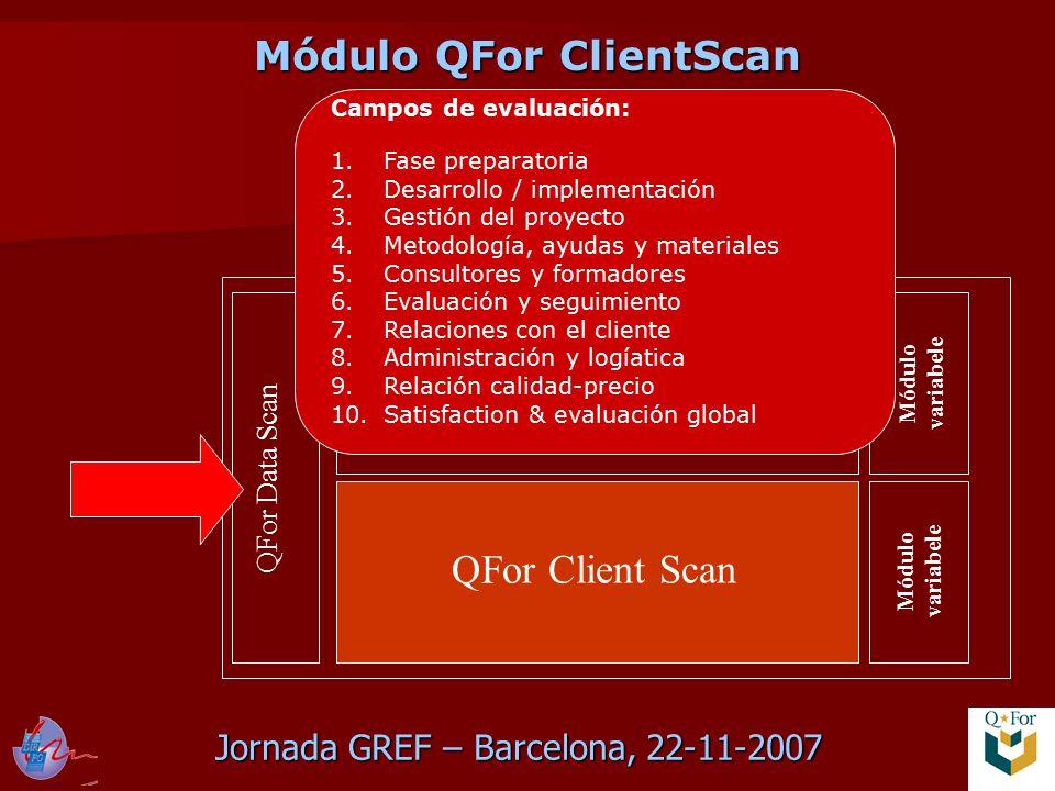 Jornada GREF – Barcelona, 22-11-2007 QFor Data Scan QFor Process Scan QFor Client Scan Módulo variabele Campos de evaluación: 1.Fase preparatoria 2.Desarrollo / implementación 3.Gestión del proyecto 4.Metodología, ayudas y materiales 5.Consultores y formadores 6.Evaluación y seguimiento 7.Relaciones con el cliente 8.Administración y logíatica 9.Relación calidad-precio 10.Satisfaction & evaluación global Módulo QFor ClientScan