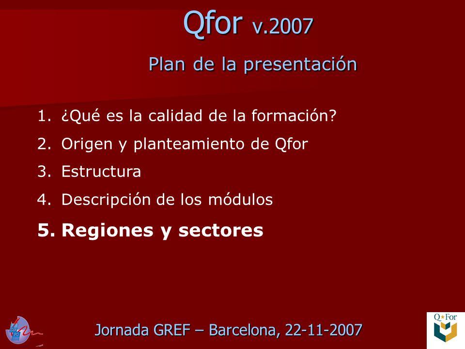 Jornada GREF – Barcelona, 22-11-2007 Qfor v.2007 Plan de la presentación 1.¿Qué es la calidad de la formación.