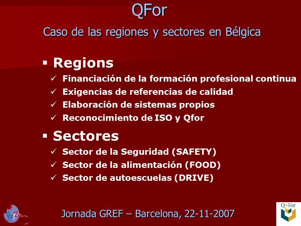 Jornada GREF – Barcelona, 22-11-2007 QFor Caso de las regiones y sectores en Bélgica  Regions Financiación de la formación profesional continua Exigencias de referencias de calidad Elaboración de sistemas propios Reconocimiento de ISO y Qfor  Sectores Sector de la Seguridad (SAFETY) Sector de la alimentación (FOOD) Sector de autoescuelas (DRIVE)