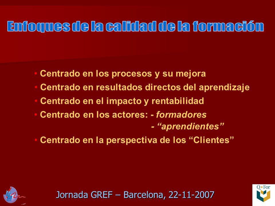 Jornada GREF – Barcelona, 22-11-2007 Centrado en los procesos y su mejora Centrado en resultados directos del aprendizaje Centrado en el impacto y rentabilidad Centrado en los actores: - formadores - aprendientes Centrado en la perspectiva de los Clientes