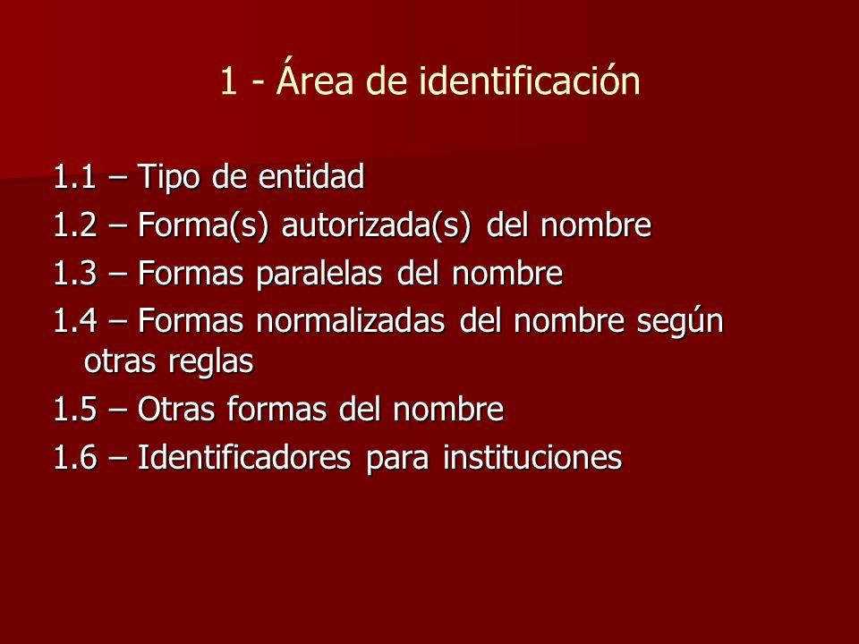 1 - Área de identificación 1.1 – Tipo de entidad 1.2 – Forma(s) autorizada(s) del nombre 1.3 – Formas paralelas del nombre 1.4 – Formas normalizadas del nombre según otras reglas 1.5 – Otras formas del nombre 1.6 – Identificadores para instituciones