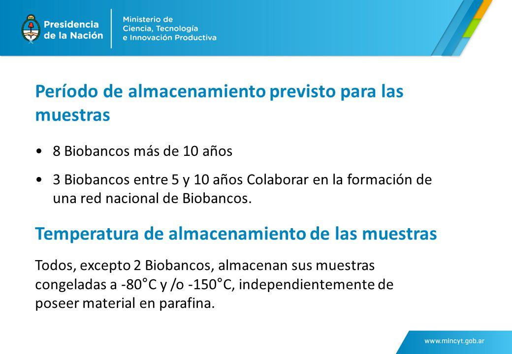 Período de almacenamiento previsto para las muestras 8 Biobancos más de 10 años 3 Biobancos entre 5 y 10 años Colaborar en la formación de una red nacional de Biobancos.