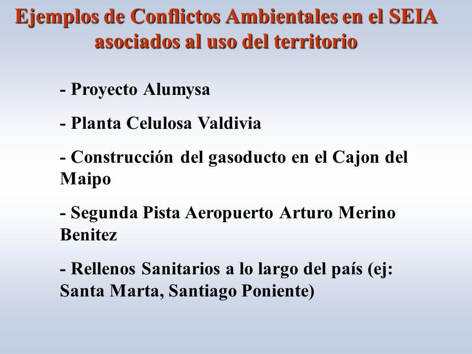 Ejemplos de Conflictos Ambientales en el SEIA asociados al uso del territorio - Proyecto Alumysa - Planta Celulosa Valdivia - Construcción del gasoducto en el Cajon del Maipo - Segunda Pista Aeropuerto Arturo Merino Benitez - Rellenos Sanitarios a lo largo del país (ej: Santa Marta, Santiago Poniente)