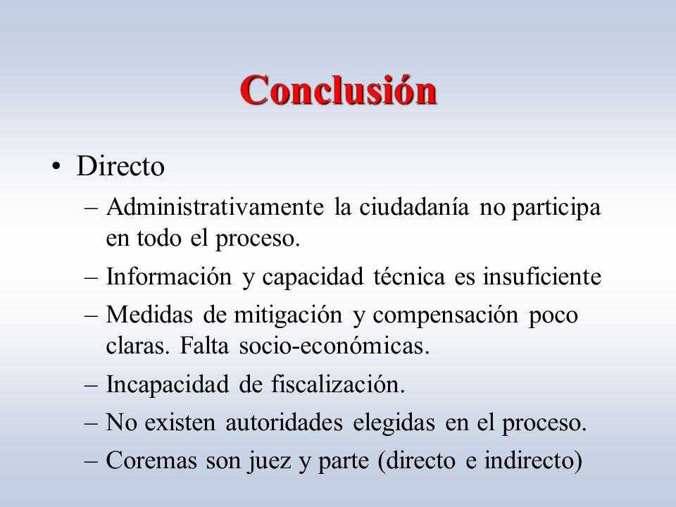 Conclusión Directo –Administrativamente la ciudadanía no participa en todo el proceso.