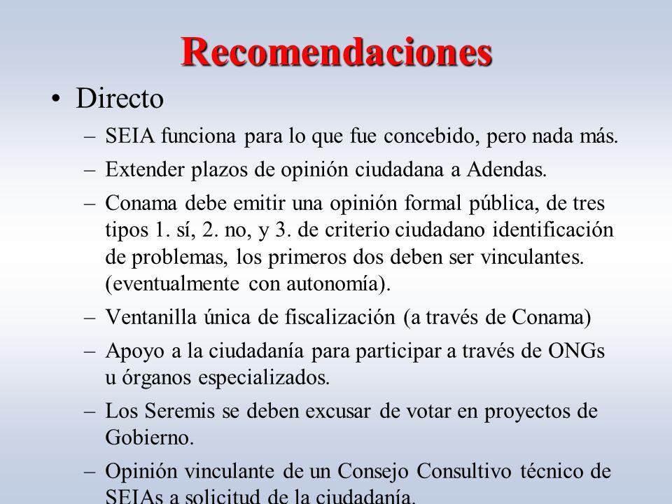 Recomendaciones Directo –SEIA funciona para lo que fue concebido, pero nada más.