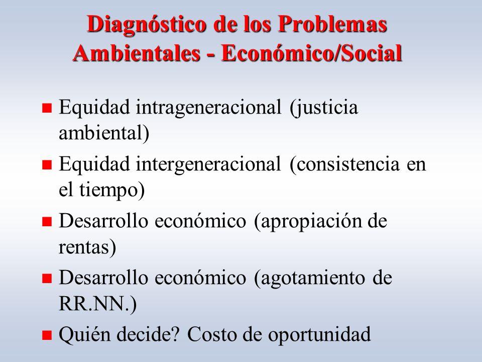 Diagnóstico de los Problemas Ambientales - Económico/Social Equidad intrageneracional (justicia ambiental) Equidad intergeneracional (consistencia en el tiempo) Desarrollo económico (apropiación de rentas) Desarrollo económico (agotamiento de RR.NN.) Quién decide.