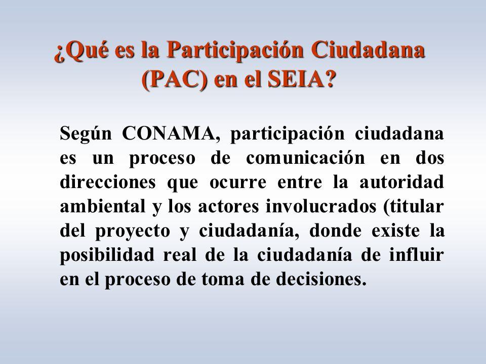 ¿Qué es la Participación Ciudadana (PAC) en el SEIA.