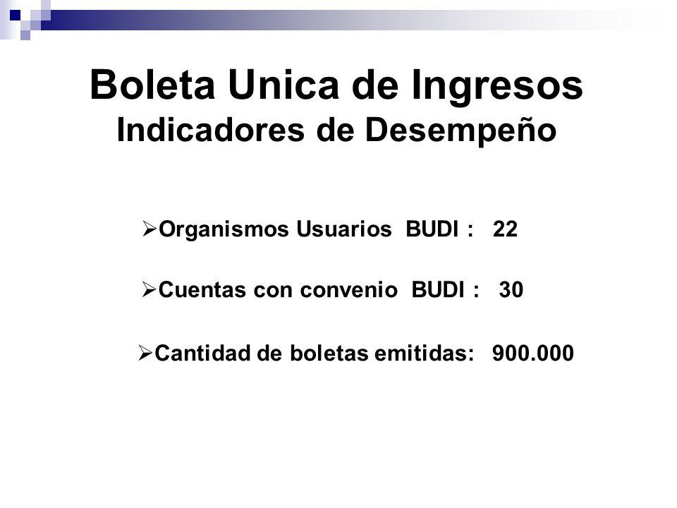  Organismos Usuarios BUDI : 22  Cuentas con convenio BUDI : 30  Cantidad de boletas emitidas: 900.000 Boleta Unica de Ingresos Indicadores de Desempeño