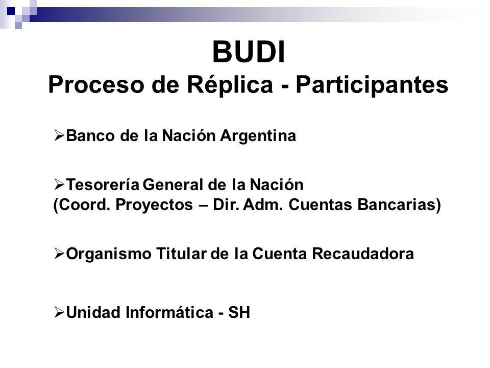 BUDI Proceso de Réplica - Participantes  Banco de la Nación Argentina  Tesorería General de la Nación (Coord.