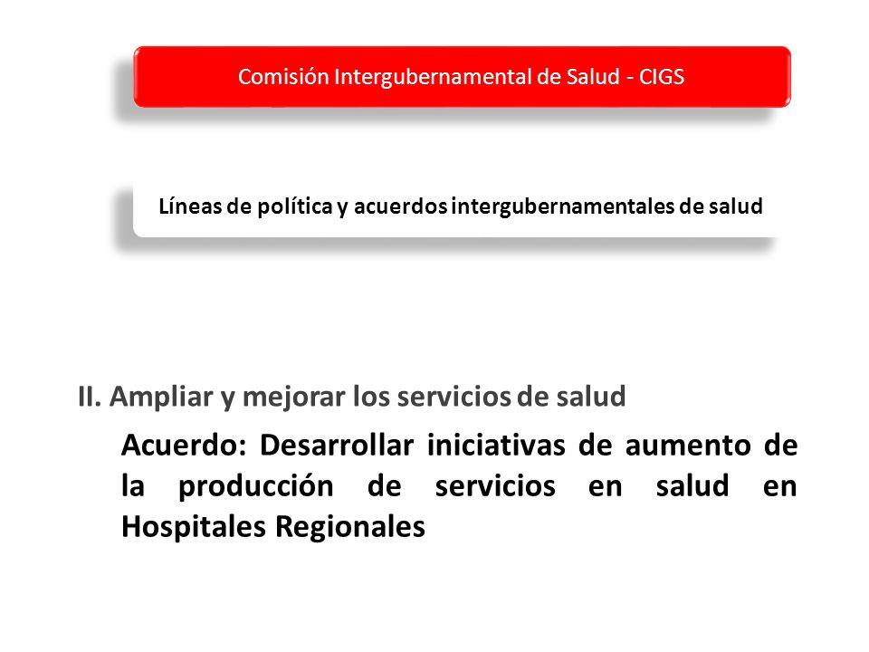 Acuerdo: Desarrollar iniciativas de aumento de la producción de servicios en salud en Hospitales Regionales II.