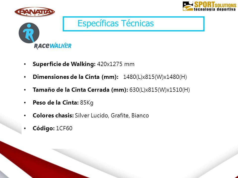 Superficie de Walking: 420x1275 mm Dimensiones de la Cinta (mm): 1480(L)x815(W)x1480(H) Tamaño de la Cinta Cerrada (mm): 630(L)x815(W)x1510(H) Peso de la Cinta: 85Kg Colores chasis: Silver Lucido, Grafite, Bianco Código: 1CF60 Específicas Técnicas