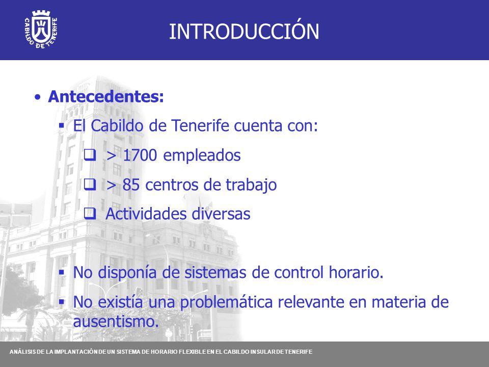 ANÁLISIS DE LA IMPLANTACIÓN DE UN SISTEMA DE HORARIO FLEXIBLE EN EL CABILDO INSULAR DE TENERIFE INTRODUCCIÓN Antecedentes:  El Cabildo de Tenerife cuenta con:  > 1700 empleados  > 85 centros de trabajo  Actividades diversas  No disponía de sistemas de control horario.