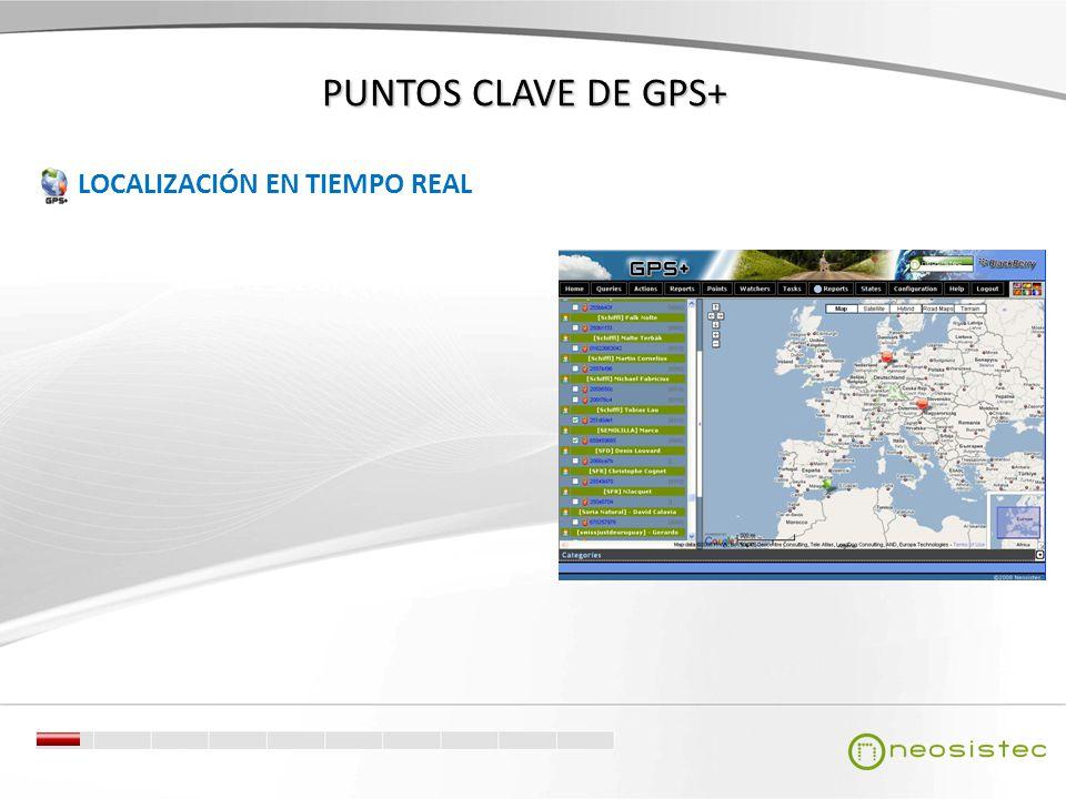 PUNTOS CLAVE DE GPS+ LOCALIZACIÓN EN TIEMPO REAL