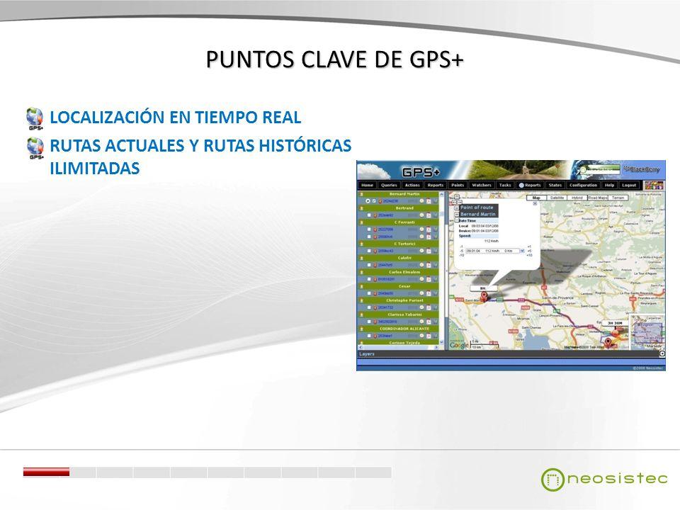 PUNTOS CLAVE DE GPS+ LOCALIZACIÓN EN TIEMPO REAL RUTAS ACTUALES Y RUTAS HISTÓRICAS ILIMITADAS