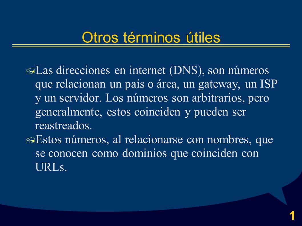 1 Otros términos útiles  Las direcciones en internet (DNS), son números que relacionan un país o área, un gateway, un ISP y un servidor.