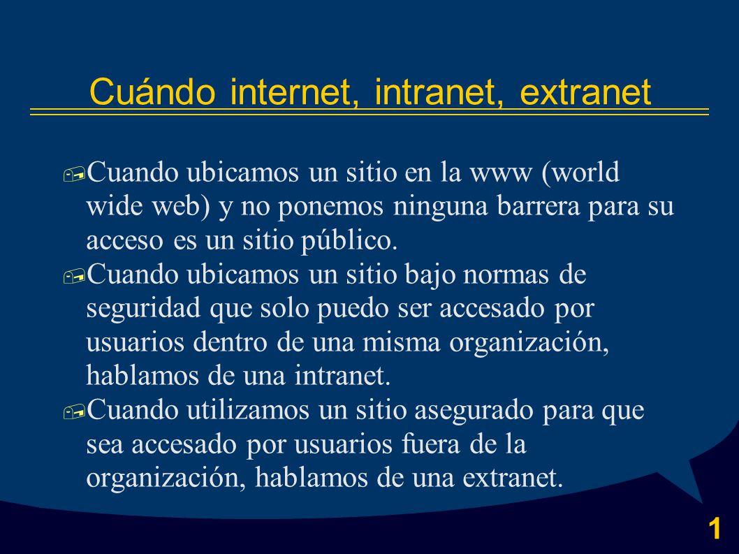 1 Cuándo internet, intranet, extranet  Cuando ubicamos un sitio en la www (world wide web) y no ponemos ninguna barrera para su acceso es un sitio público.