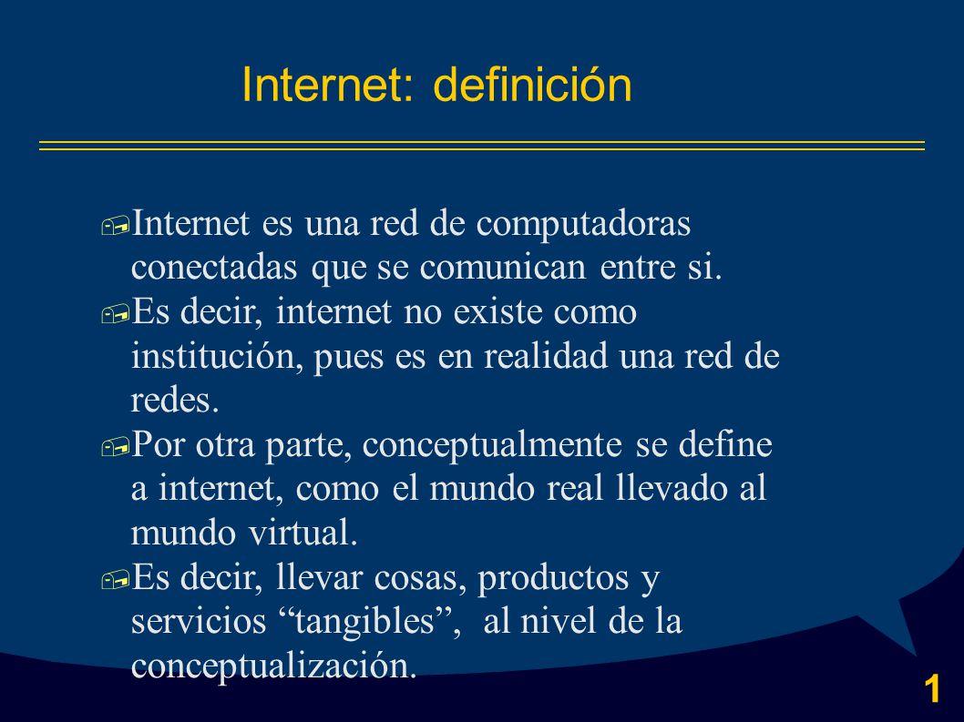 1 Internet: definición  Internet es una red de computadoras conectadas que se comunican entre si.
