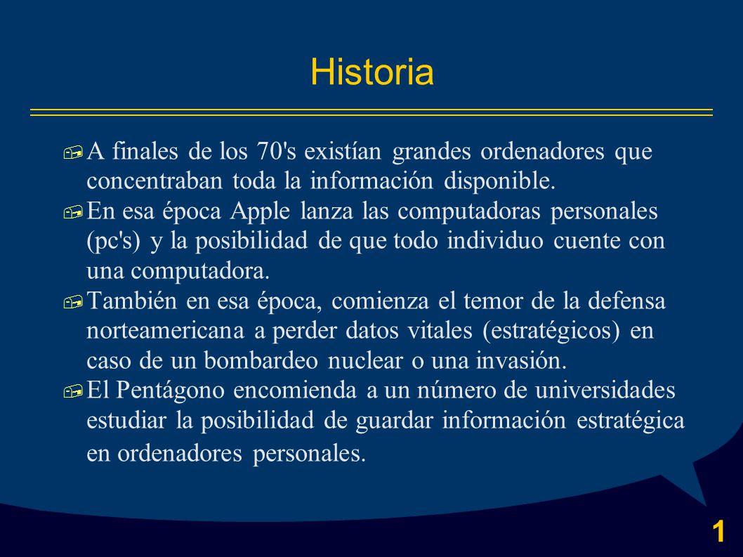 1 Historia  A finales de los 70 s existían grandes ordenadores que concentraban toda la información disponible.