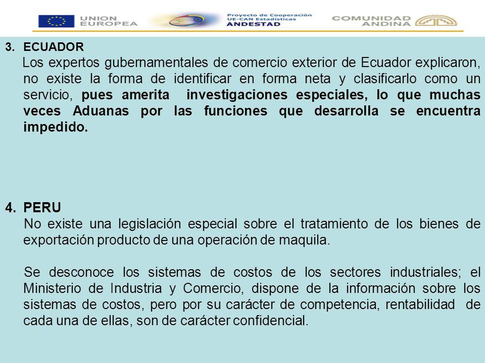 3.ECUADOR Los expertos gubernamentales de comercio exterior de Ecuador explicaron, no existe la forma de identificar en forma neta y clasificarlo como un servicio, pues amerita investigaciones especiales, lo que muchas veces Aduanas por las funciones que desarrolla se encuentra impedido.