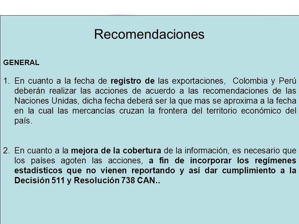 Recomendaciones GENERAL 1.En cuanto a la fecha de registro de las exportaciones, Colombia y Perú deberán realizar las acciones de acuerdo a las recomendaciones de las Naciones Unidas, dicha fecha deberá ser la que mas se aproxima a la fecha en la cual las mercancías cruzan la frontera del territorio económico del país.