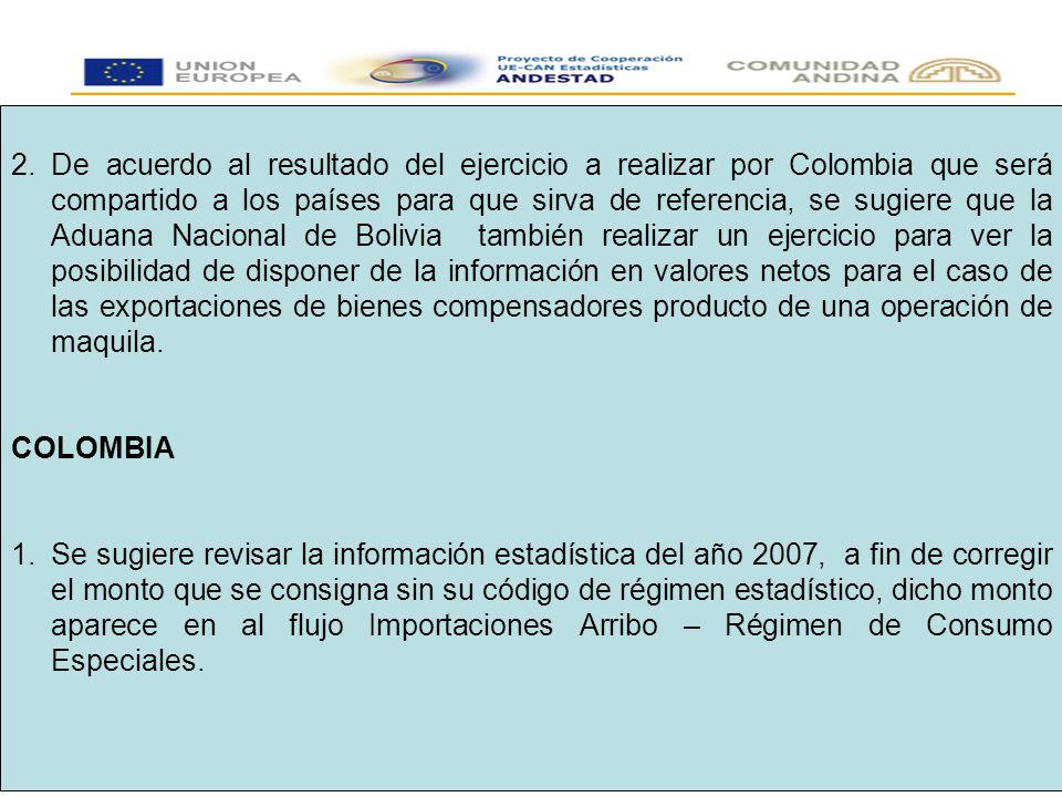 2.De acuerdo al resultado del ejercicio a realizar por Colombia que será compartido a los países para que sirva de referencia, se sugiere que la Aduana Nacional de Bolivia también realizar un ejercicio para ver la posibilidad de disponer de la información en valores netos para el caso de las exportaciones de bienes compensadores producto de una operación de maquila.