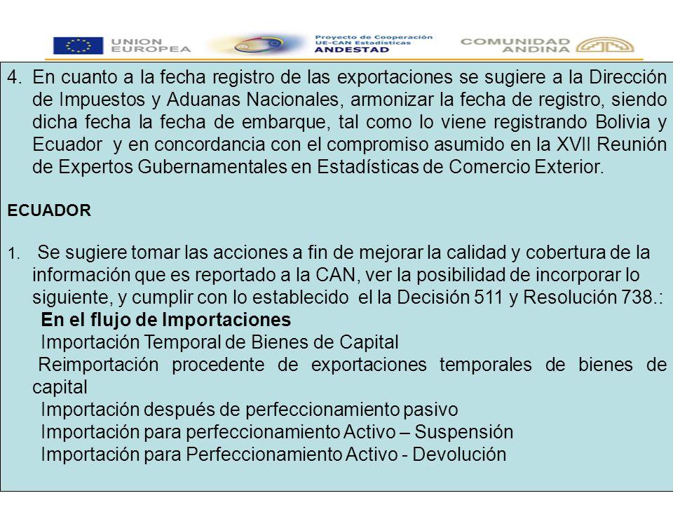 4.En cuanto a la fecha registro de las exportaciones se sugiere a la Dirección de Impuestos y Aduanas Nacionales, armonizar la fecha de registro, siendo dicha fecha la fecha de embarque, tal como lo viene registrando Bolivia y Ecuador y en concordancia con el compromiso asumido en la XVII Reunión de Expertos Gubernamentales en Estadísticas de Comercio Exterior.