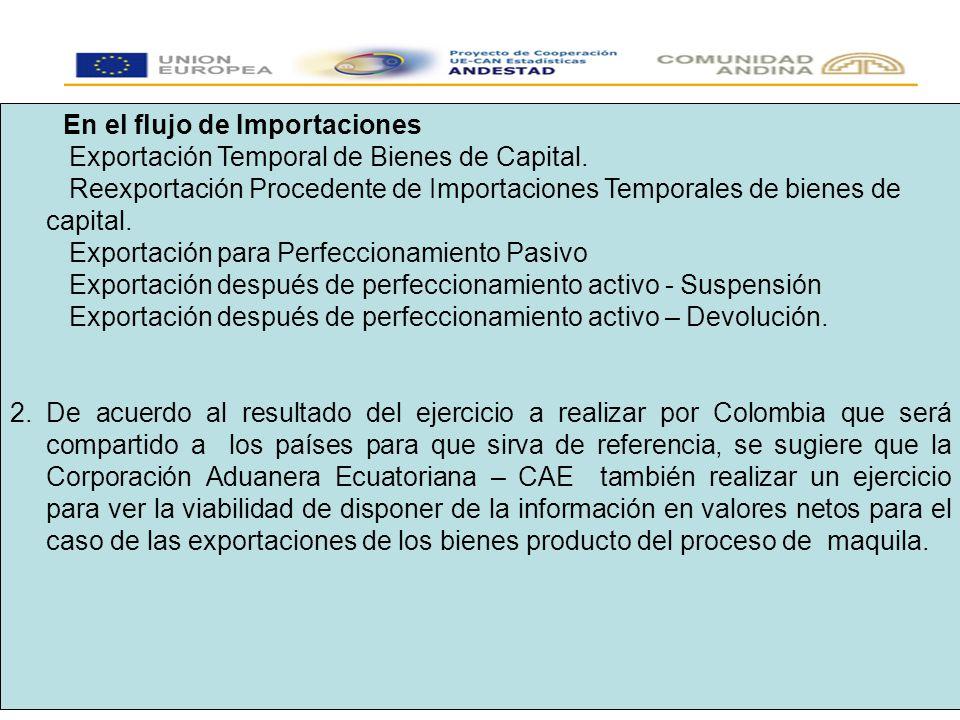 En el flujo de Importaciones Exportación Temporal de Bienes de Capital.