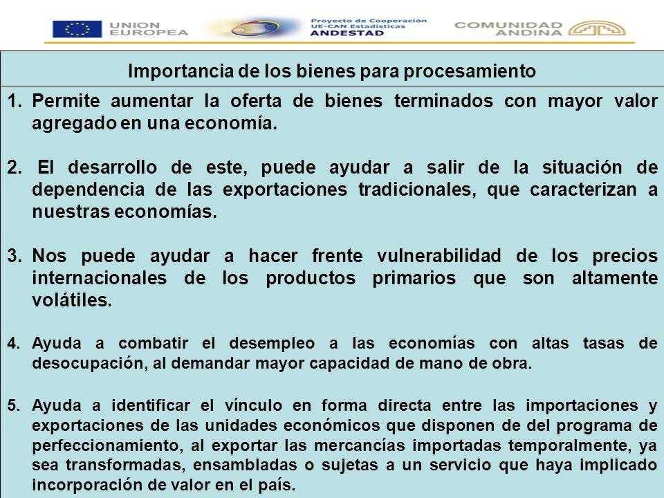 Importancia de los bienes para procesamiento 1.Permite aumentar la oferta de bienes terminados con mayor valor agregado en una economía.