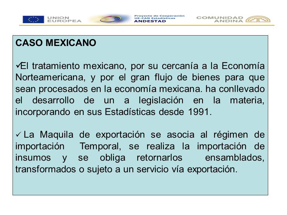 CASO MEXICANO El tratamiento mexicano, por su cercanía a la Economía Norteamericana, y por el gran flujo de bienes para que sean procesados en la economía mexicana.