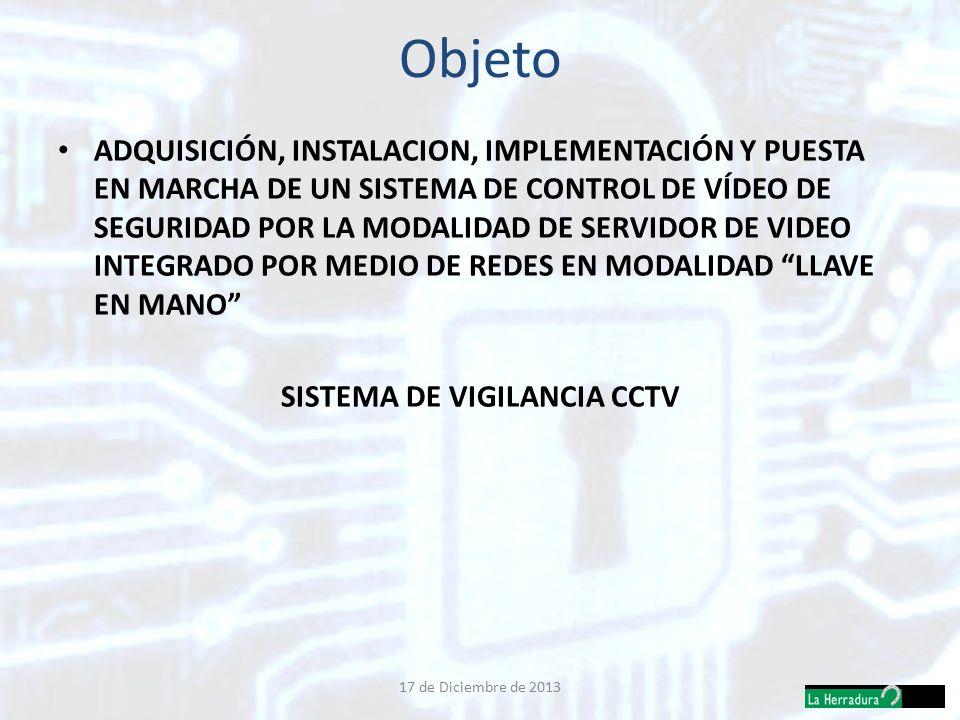 Objeto ADQUISICIÓN, INSTALACION, IMPLEMENTACIÓN Y PUESTA EN MARCHA DE UN SISTEMA DE CONTROL DE VÍDEO DE SEGURIDAD POR LA MODALIDAD DE SERVIDOR DE VIDEO INTEGRADO POR MEDIO DE REDES EN MODALIDAD LLAVE EN MANO SISTEMA DE VIGILANCIA CCTV 17 de Diciembre de 2013
