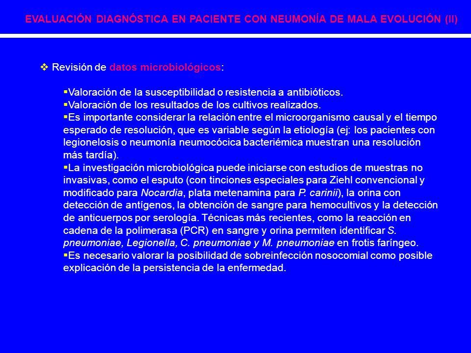  Revisión de datos microbiológicos:  Valoración de la susceptibilidad o resistencia a antibióticos.