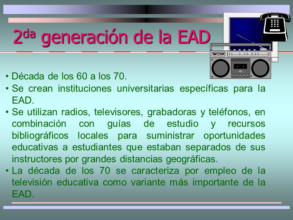 1 era generación de la EAD Modelo de estudios por correspondencia.