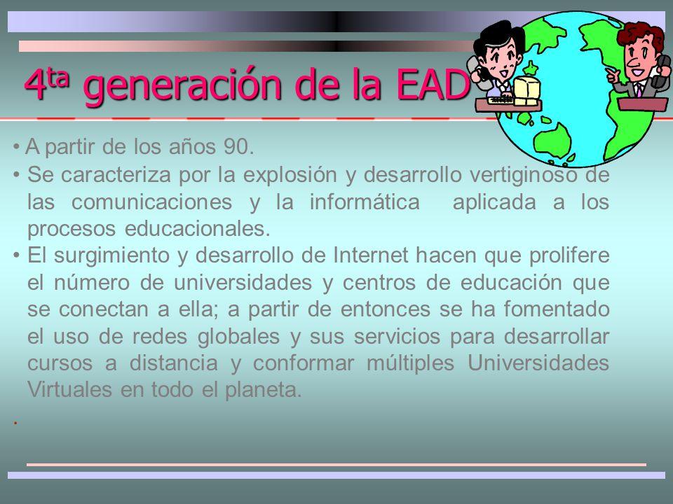 Se caracteriza por el empleo sistemático de la computación con los elementos componentes de la primera y segunda generación en los sistemas de EAD.