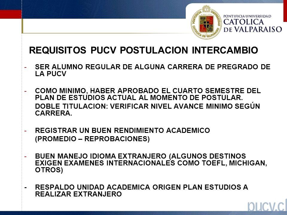 REQUISITOS PUCV POSTULACION INTERCAMBIO -SER ALUMNO REGULAR DE ALGUNA CARRERA DE PREGRADO DE LA PUCV -COMO MINIMO, HABER APROBADO EL CUARTO SEMESTRE DEL PLAN DE ESTUDIOS ACTUAL AL MOMENTO DE POSTULAR.