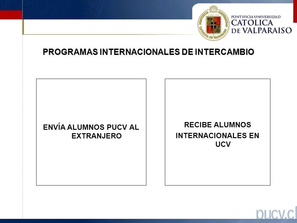 PROGRAMAS INTERNACIONALES DE INTERCAMBIO ENVÍA ALUMNOS PUCV AL EXTRANJERO RECIBE ALUMNOS INTERNACIONALES EN UCV