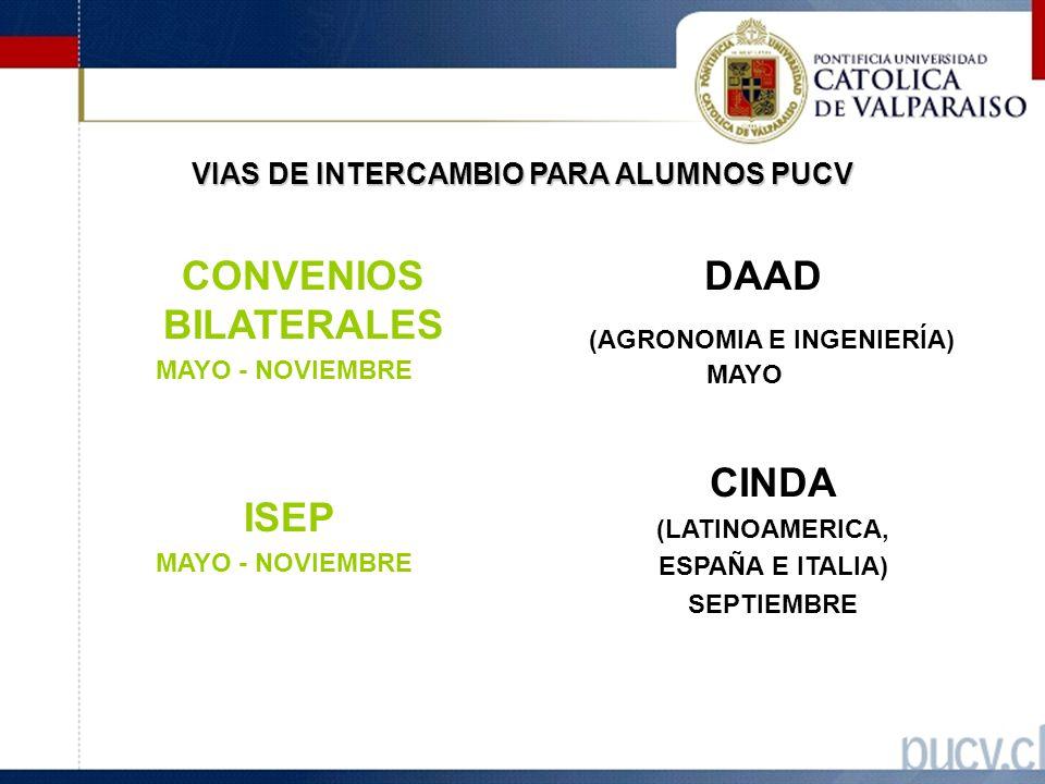 VIAS DE INTERCAMBIO PARA ALUMNOS PUCV CONVENIOS BILATERALES MAYO - NOVIEMBRE ISEP MAYO - NOVIEMBRE DAAD (AGRONOMIA E INGENIERÍA) MAYO CINDA (LATINOAMERICA, ESPAÑA E ITALIA) SEPTIEMBRE