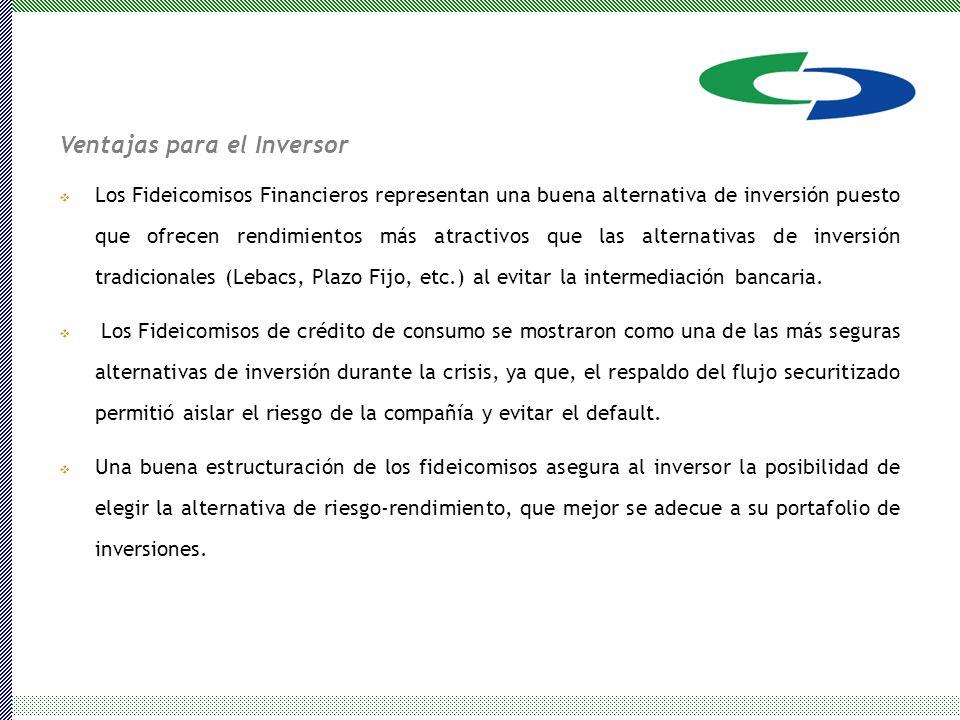 Ventajas para el Inversor  Los Fideicomisos Financieros representan una buena alternativa de inversión puesto que ofrecen rendimientos más atractivos que las alternativas de inversión tradicionales (Lebacs, Plazo Fijo, etc.) al evitar la intermediación bancaria.