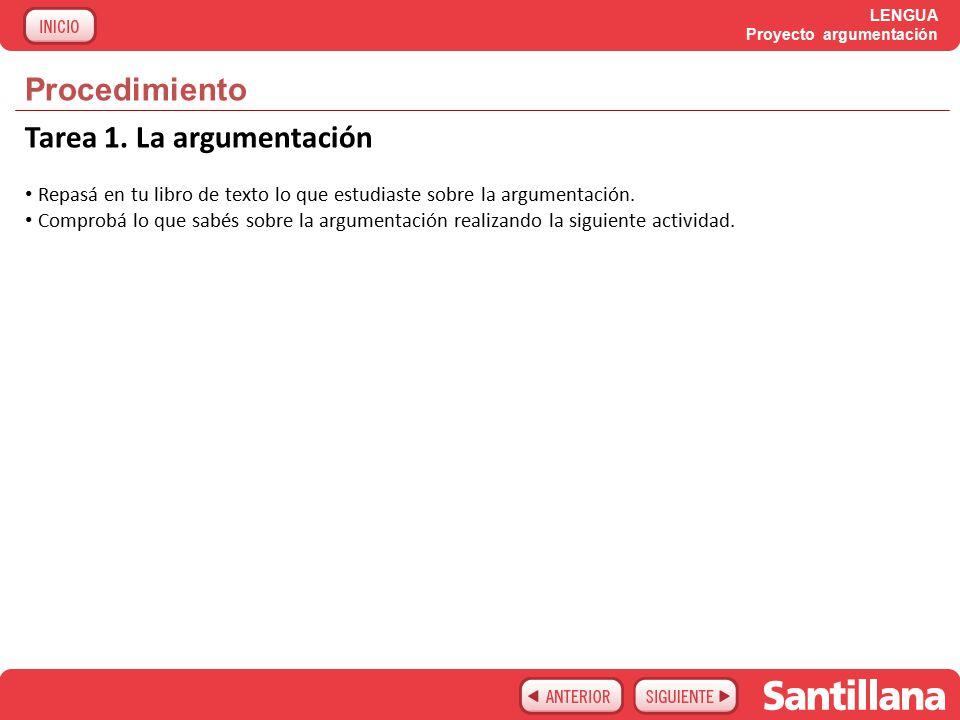 LENGUA Proyecto argumentación Procedimiento Tarea 1.