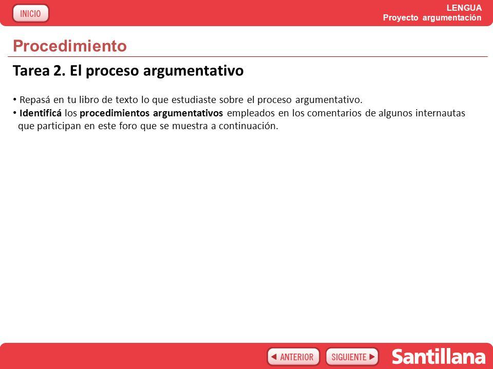 LENGUA Proyecto argumentación Procedimiento Tarea 2.