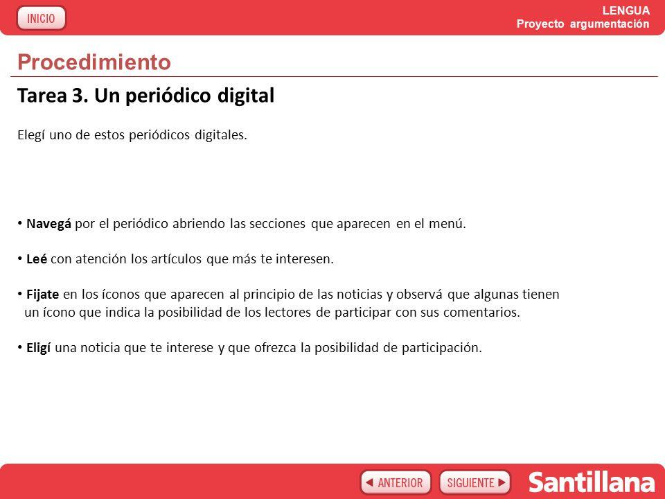 LENGUA Proyecto argumentación Procedimiento Tarea 3.
