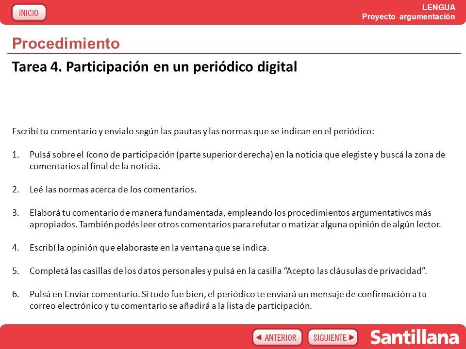 LENGUA Proyecto argumentación Procedimiento Tarea 4.