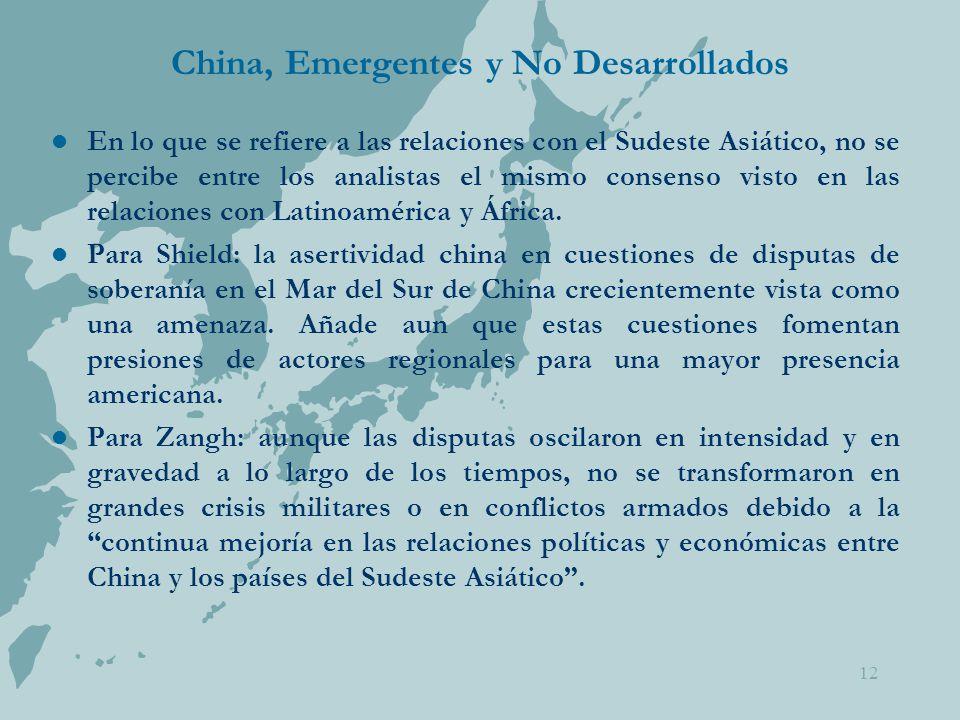 China, Emergentes y No Desarrollados En lo que se refiere a las relaciones con el Sudeste Asiático, no se percibe entre los analistas el mismo consenso visto en las relaciones con Latinoamérica y África.