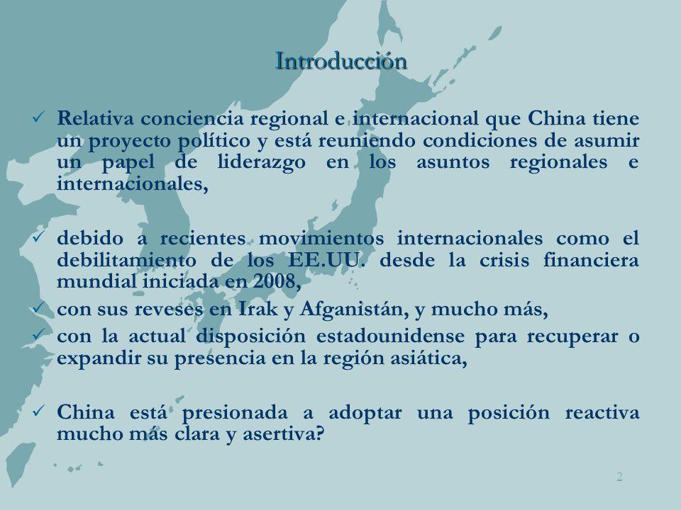 2 Introducción Relativa conciencia regional e internacional que China tiene un proyecto político y está reuniendo condiciones de asumir un papel de liderazgo en los asuntos regionales e internacionales, debido a recientes movimientos internacionales como el debilitamiento de los EE.UU.