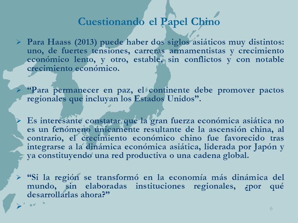 6 Cuestionando el Papel Chino  Para Haass (2013) puede haber dos siglos asiáticos muy distintos: uno, de fuertes tensiones, carreras armamentistas y crecimiento económico lento, y otro, estable, sin conflictos y con notable crecimiento económico.