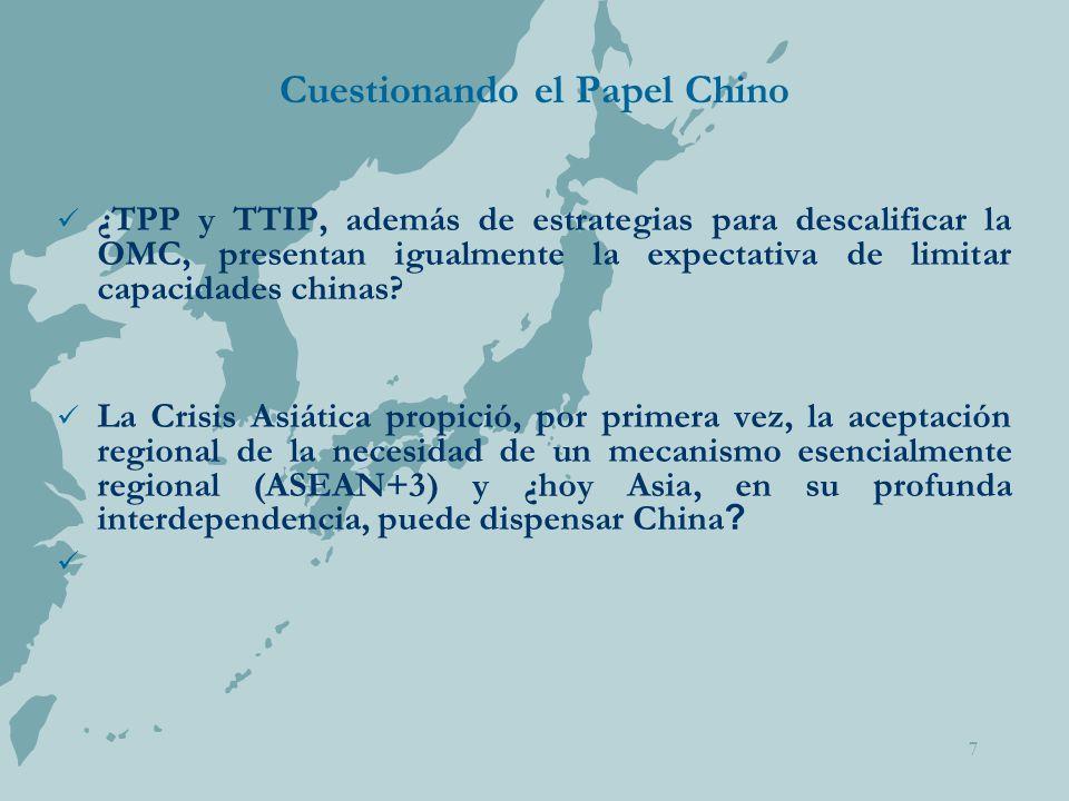 7 Cuestionando el Papel Chino ¿TPP y TTIP, además de estrategias para descalificar la OMC, presentan igualmente la expectativa de limitar capacidades chinas.