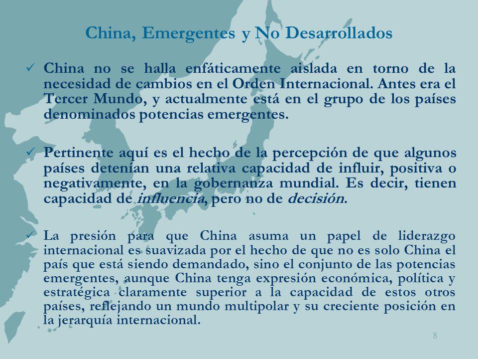 8 China, Emergentes y No Desarrollados China no se halla enfáticamente aislada en torno de la necesidad de cambios en el Orden Internacional.