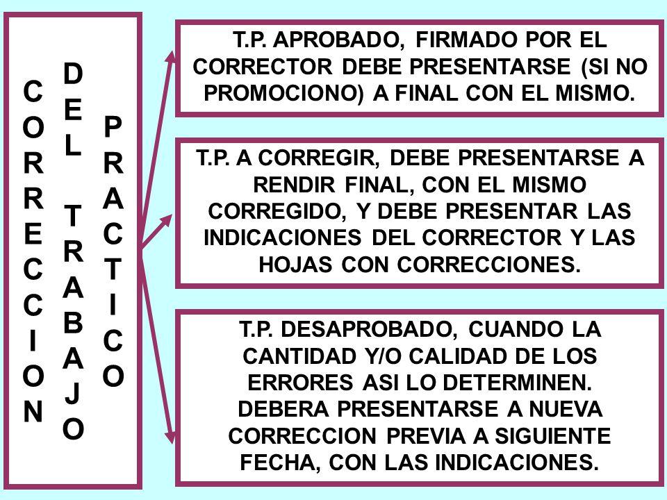 T.P. APROBADO, FIRMADO POR EL CORRECTOR DEBE PRESENTARSE (SI NO PROMOCIONO) A FINAL CON EL MISMO.